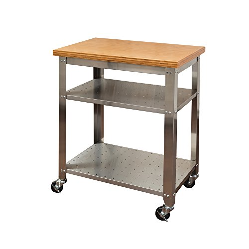 Seville Classics Stainless Steel Kitchen Cart with Bamboo Top (Bamboo Kitchen Carts And Islands compare prices)
