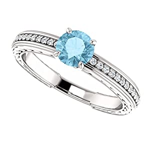14K White Gold Round Cut Blue and White Diamond Engagement Ring