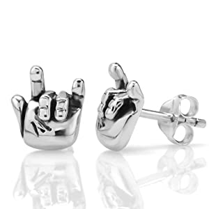 "925 Oxidized Sterling Silver ""I Love You"" Hand Sign Post Stud Earrings 10 mm Jewelry for Women, Teens, Girls - Nickel Free from Chuvora"