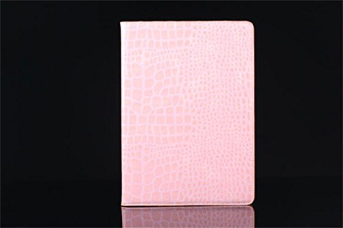 Apple Ipad Air 2 Case Borch Fashion Luxury Crocodile Pattern Leather Multi-Function Protective Leather Light-Weight Folding Flip Smart Case Cover For For Ipad Air 2 (Pink)