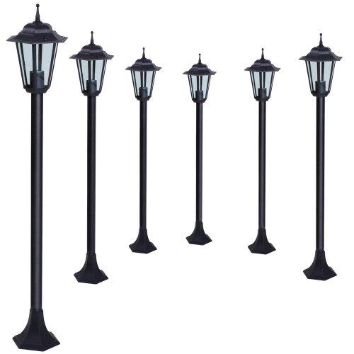Jago-6er-Set-Gartenleuchte-Auenleuchte-Garten-Leuchte-Laterne-Gartenlampe-Wegeleuchte-Energieeffizienzklasse-A-bis-E-aus-Eisen-im-schwarzen-Antik-Look