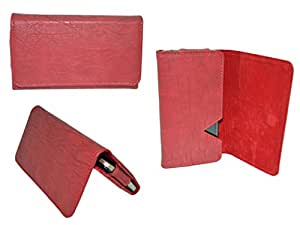 Premium Branded Wallet Pouch For Videocon A42 - WTPRD50#1724 - Red