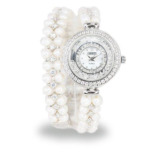(アビステ)ABISTE ラウンドフェイス淡水パール2連ブレスレット時計/シルバー 9301013S/W