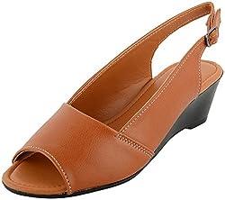 Richiee Girls Tan Synthetic Wedges Sandal (1518-103Tan_37, Size - 37)