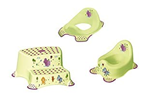 Set de 3 x Hippo Verde WC Accesorio + Orinal + Banqueta Dos Escalones Entrenamiento Váter - BebeHogar.com