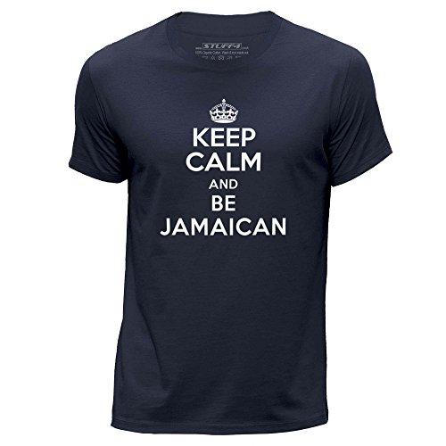 STUFF4-HombresX-Grande-XLAzul-MarinoCuello-redondo-de-la-camisetaKeep-Calm-Be-Jamaican