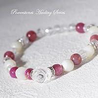 薔薇水晶のブレス/ルビー&マザーオブパール