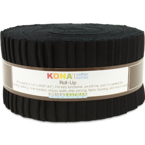 Robert Kaufman Kona Cotton Solids Black K001-1019 Jelly Roll Up, 40 2.5x44-inch (6.4x112cm) Cotton Fabric Strips