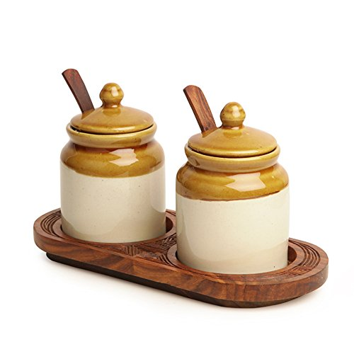 Tremendous Exclusivelane Old Fashioned Ceramic Jars With Hand Carved Tray Kitchen Ware Table Tops Spice Box Masala Container Interior Design Ideas Gentotryabchikinfo