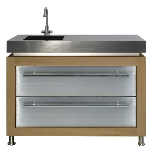 Ingarden Outdoor Kitchen. Oak , Stainless Steel & Granite Outdoor Kitchen Unit With Sink