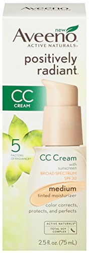 Aveeno Positively Radiant CC Cream SPF 30, Medium Tinted Moisturizer, 2.5 Ounce