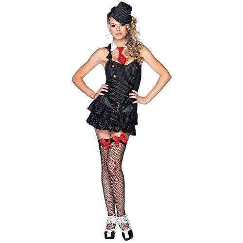 [GSG Gangster Costume Adult Sexy Roaring 20s Mafia Girl Halloween Fancy Dress] (20s Mafia Costume)