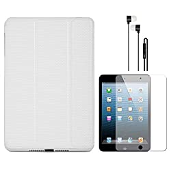 VG Ultra Thin Protective Smart Case Cover with Sleep Mode and Stand for Apple iPad Mini (White) + Black Earphones + Matte Screen