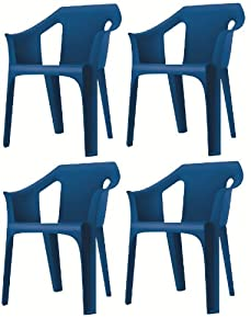 Resol  Cool  Garden Outdoor / Indoor Designer Plastic Chairs   Blue   Garden Furniture (Pack of 4 chairs)       Customer review and more description