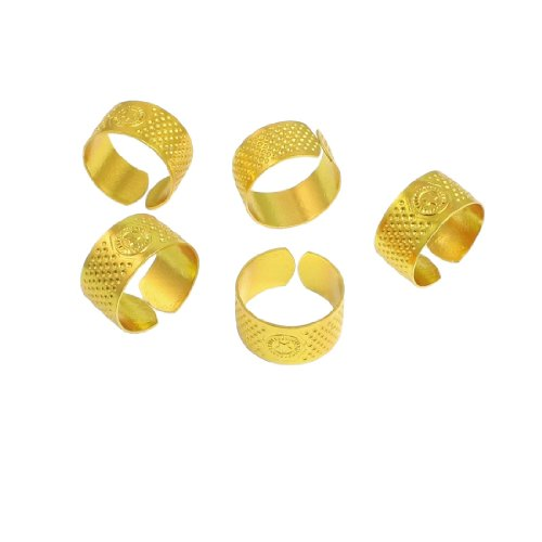 Amico 5 Pcs 21mm Diameter Gold Tone Metal Ring Reeded Thimble for Tailoring Sewing