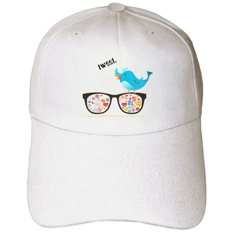 Geek Social Media Sunglasses WIth Icons and Twitter Bird – Adult Baseball Cap