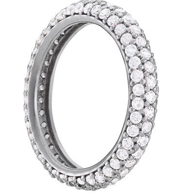Sterling Silver 3 Row Cubic Zirconia Eternity Band