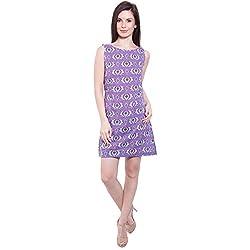 TUNTUK Women's Flora Dress Purple Cotton Dress