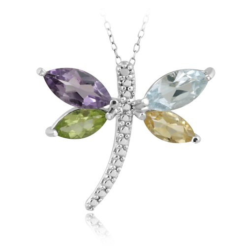 Sterling Silver Multi Gemstone & Diamond Accent Dragonfly Pendant