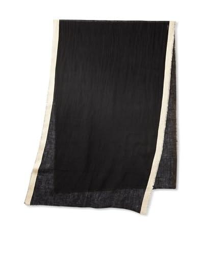 Carolina Amato Women's Linen Scarf, Black/Cream