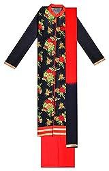 Sree Hamsa Women's Cotton Unstitched Dress Material (Black)