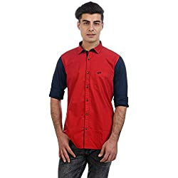 Sting Red Solid Slim Fit Full Sleeve Cotton Casual Shirt