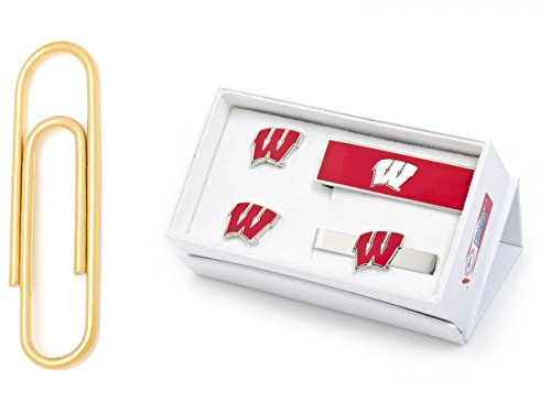 University Of Wisconsin Badgers 3-Piece Gift Set With Gold Stainless Steel Paper Clip Money Clip