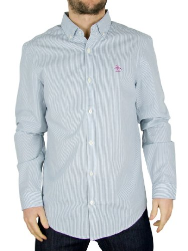 Original Penguin Aegean Blue Dress Stripe Shirt - Size: XL