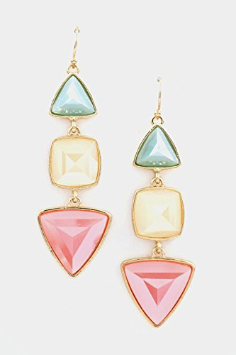 Glitz Finery Triangle And Square Stone Linked Dangle Earring (Mix)