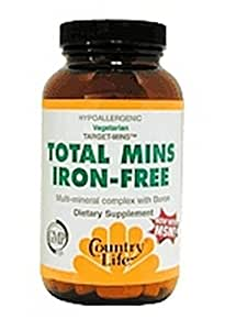 Country Life Iron Free Total Mins, 60 Tablets