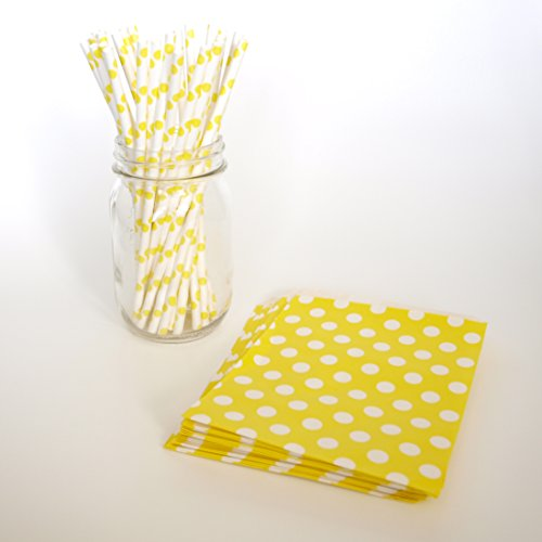 Wedding Gift Bags, Designer Straws, Polka Dot Candy Bags, Kid Drinking Straws, 2 Combo Party Supply Kit - Yellow Polka Dot back-852534