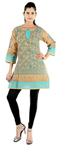 Indiankala4u Women Lucknowi Chikankari/Chikan Hand Embroidery Cotton Brown 38 Kurtis/Kurta