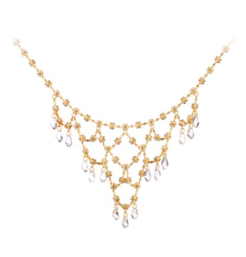 Release' Collection 24K Rose Yellow Gold Plated Necklace Created by Amaro Jewelry Studio with Decorated with Flower Ornaments and Tear Drop Charms, Embellished with Labrador, Hematite, Pyrite, Black Tahiti Pearls and Swarovski Crystals
