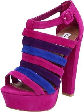 Steve Madden Women's Audrinaa Platform Sandal,Raspberry Suede,10 M US