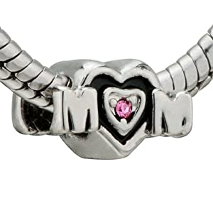 Pink Crystal Mom Heart Bead - Pandora Beads Charm & Bracelet Compatible