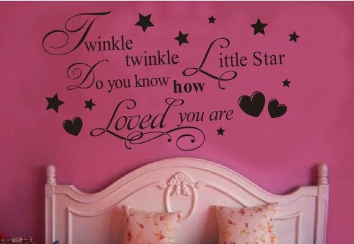 Toprate (TM) Twinkle Little Star Do You Know How Loved Are - Girl's or Boy's Room Kids Baby Nursery - Vinyl Wall Decal, Lettering Art Letters Decor, Quote Design Sticker, Saying Decoration (Zoo Wall Decals compare prices)