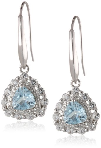 Rhodium-Plated-Silver-Created-White-Sapphire-and-Gemstone-Dangle-Earrings
