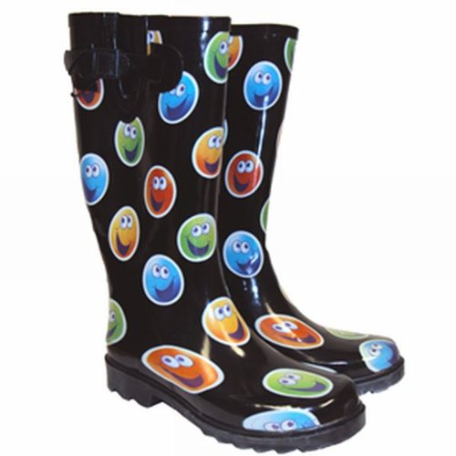 Womens & Girls Smiley Face Print Festival Concert Slip On Wellington Boots