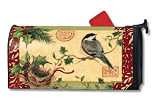 Holiday Chickadees Winter Magnetic Mailbox Cover