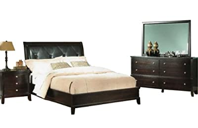 Simple Roundhill Furniture Argein Piece Padded Low Profile Bedroom Set Includes Queen Bed