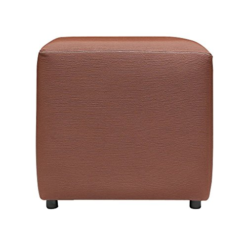 SIWA Style Greta Faux Leather Premium Square Pouf ( Brown)