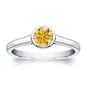 1/2 cttw Bezel set Round-cut Yellow Diamond Solitaire Ring in 14k White Gold, Size 4.5
