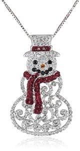 Sterling Silver Swarovski Crystal Snowman Pendant Necklace, 18'' from Richline Group