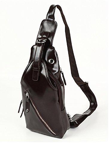2key 3色 ショルダーバッグ レザー 防水 革 メンズ 大容量 斜めがけ カジュアル バッグ (ブラウン(茶))