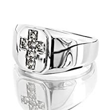 buy Platinum Spectacular Gents Ring Featuring A Diamond Cross 1/3 Ctw Near-Colorless Color Si1-Si2 Clarity