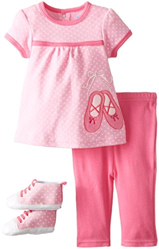 BON BEBE Baby-Girls Newborn Ballerina Slippers 4 Piece Pant Set with Sneakers