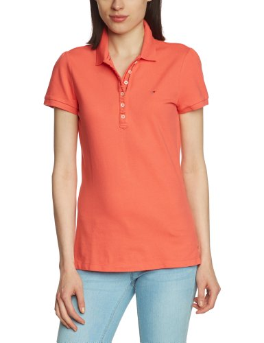 Hilfiger Denim Damen Poloshirt Slim Fit LAURA POLO S/S / 1657624009, Gr. 38 (8) (L), Rosa (695 PORCELAIN ROSE)