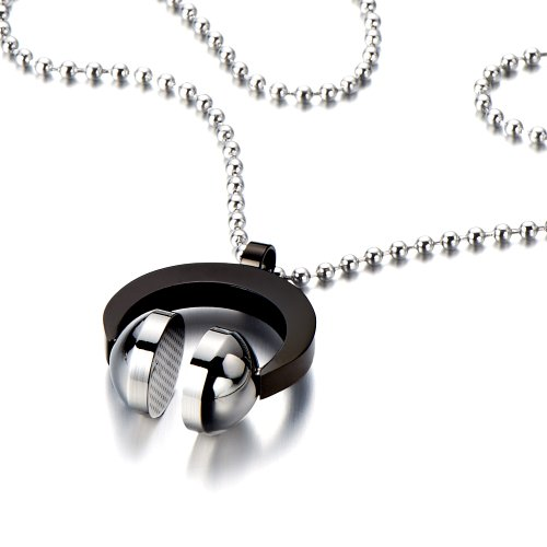 Stainless Steel Headphone Necklace For Men For Women Black And Silver With 23.6 Inches Steel Ball Chain