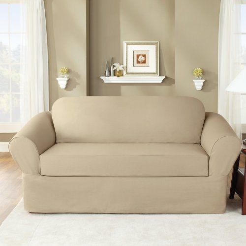 Sure Fit Twill Supreme 2 Piece Loveseat Slipcover, Flax front-961821