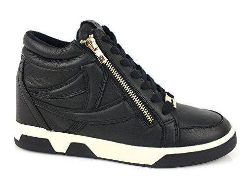 HYPNOSI Sky sneakers Zeppa interna 8 PELLE TESSUTO BLACK NERO 35